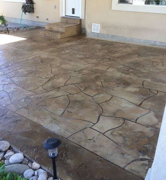 Residential, Stamped, Stained, Patio, Brown Concrete Patios Custom Concrete Cottonwood Heights, UT
