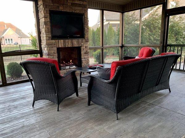 Screened Porch, Fireplace, Wood Stamped Concrete Concrete Patios Sundek of Nashville Goodlettsville, TN