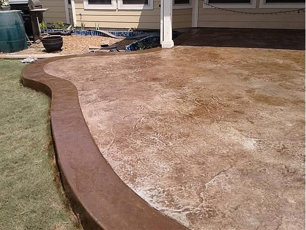 Seamless Stamped Patio, Border Concrete Patios Roman Construction LLC Leander, TX