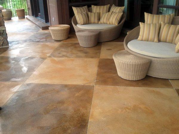 Stained Checkerboard Patio Concrete Patios Architectural Concrete & Design Draper, UT