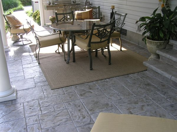 Stamped Concrete Patio, Gray Stamped Concrete, Gray Concrete Patio Concrete Patios Ramsey's Concrete Service Carterville, IL
