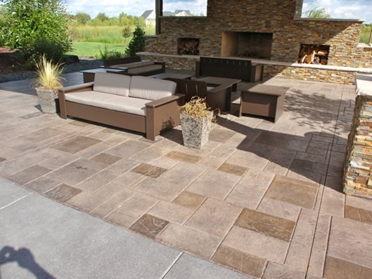 Stamped, Fireplace, Stained Concrete Patios Lowell Russell Concrete Inc. Lakeville, MN