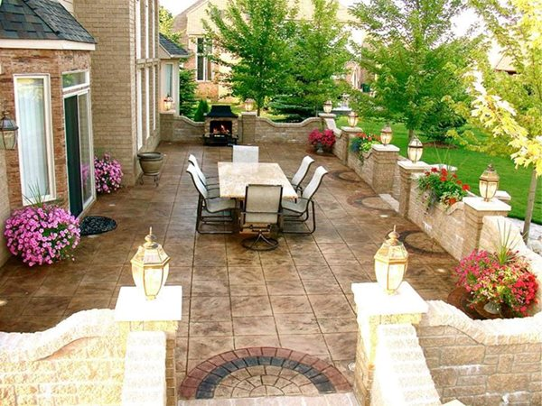 Stamped Patio, Block Wall Concrete Patios Biondo Cement Co Inc Shelby Charter Township, MI
