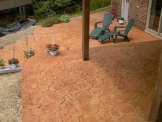 Stamped Patio, Stained. Concrete Patios J.J.I. Concrete Construction Pittsburgh, PA