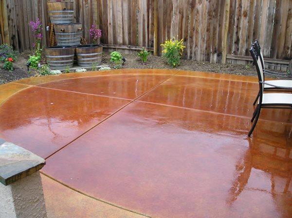 Wet, Red, Oval Concrete Patios Rhodes Landscape Design, Inc Rio Linda, CA