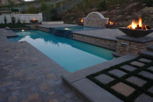 Pool, Earth Tones Concrete Pavers The Green Scene Chatsworth, CA