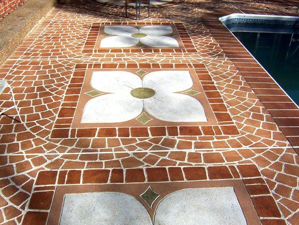 Brick Pattern, Flower Concrete Pool Decks Sloan Construction Services Dickson, TN