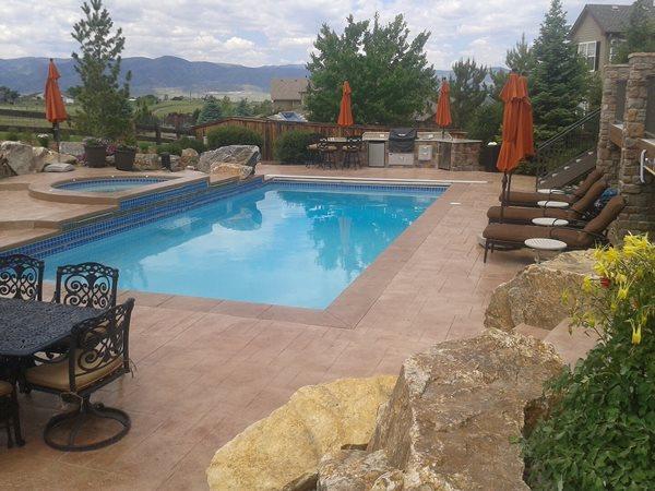 Brown Concrete, Swimming Pool Concrete Pool Decks Shades of Color, Inc. Littleton, CO
