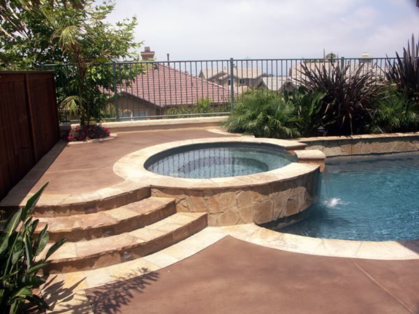 Brown Pool Deck Concrete Pool Decks Florentine Floors, Inc. Temecula, CA