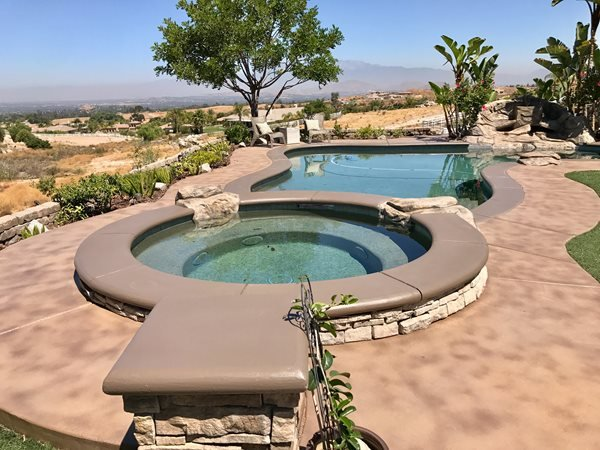 Brown Pool Deck, Stained Concrete Pool Deck Concrete Pool Decks KB Concrete Staining Norco, CA