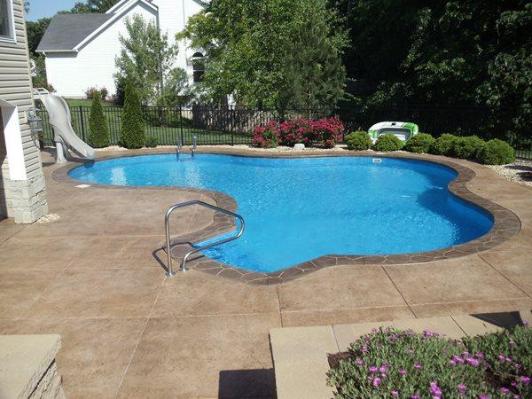 Brown Pool Deck, Textured Pool Deck Concrete Pool Decks Roman Creations Foristell, MO