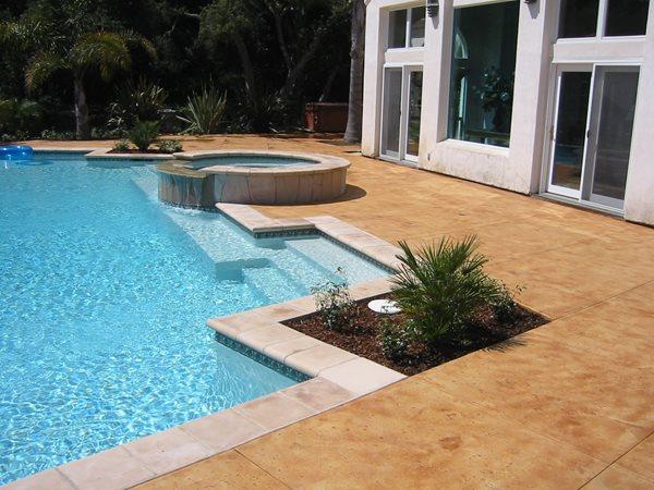 Brown, Smooth Concrete Pool Decks Tom Ralston Concrete Santa Cruz, CA