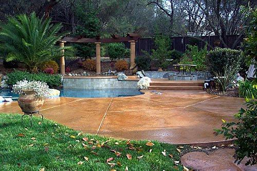 Camel, Caramel Concrete Pool Decks California Decorative Concrete El Dorado Hills, CA