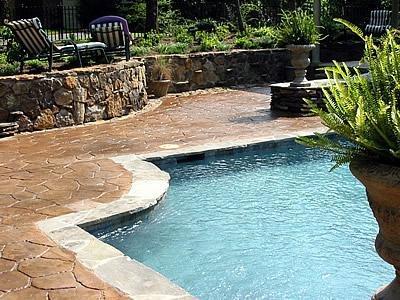 Clay, Stone Border Concrete Pool Decks Artistic Hardscapes Mason, TN