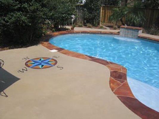 Concrete Pool Deck, Concrete, Pool Deck, Decorative Concrete, Custom Concrete, Compass  Concrete Pool Decks McAleer Epoxy Spanish Fort, AL
