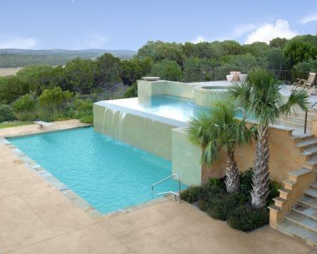 Concrete Pool Deck, Concrete Pool Concrete Pool Decks Land Design Texas Boerne, TX