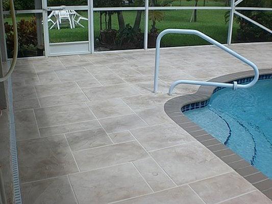 Enclosed, Pool Deck Concrete Pool Decks Select Coatings, Inc. Boynton Beach, FL