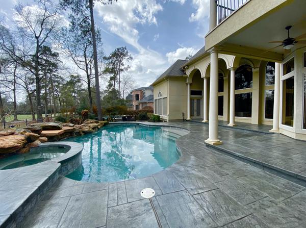 Gray Pool Deck, Slate Stamp Concrete Pool Decks Stone FX Humble, TX