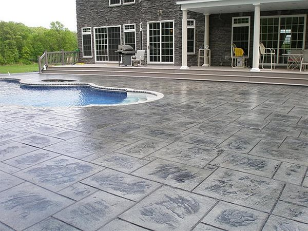 Gray Stamped Ocncrete, Pool Deck Concrete Pool Decks Concrete Expressions LLC Reddick, FL