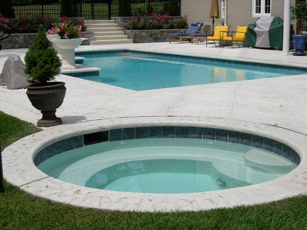 Grey Deck Concrete Pool Decks AMCON, LLC Gaithersburg, MD