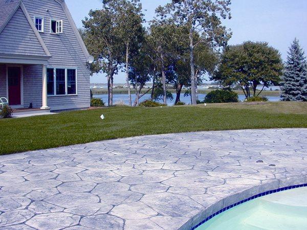 Grey, Natural Stone Concrete Pool Decks Distinctive Concrete of New England Rowley, MA