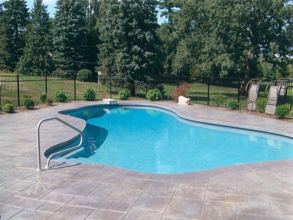 Grey Pool Deck, Stamped Concrete Concrete Pool Decks ScotCrete LLC Burrillville, RI