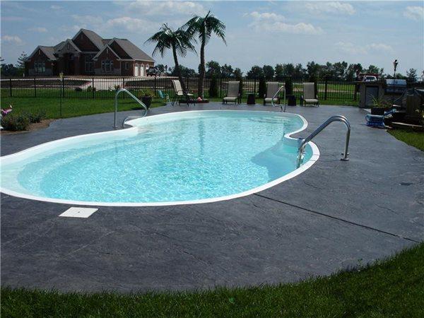 Grey Textured Charcoal Concrete Pool Decks A to Z Designer Concrete Dittmer, MO
