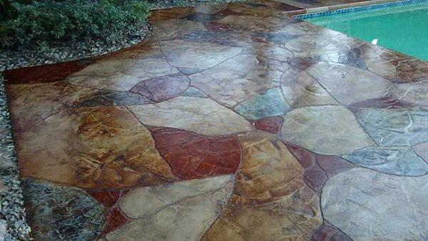 Hand Carved Overlay, Flagstone Pattern Concrete Pool Decks Decking Dynamics San Angelo, TX