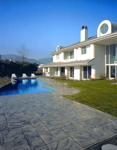 Marble, Dark Grey Concrete Pool Decks Brickform Rialto, CA