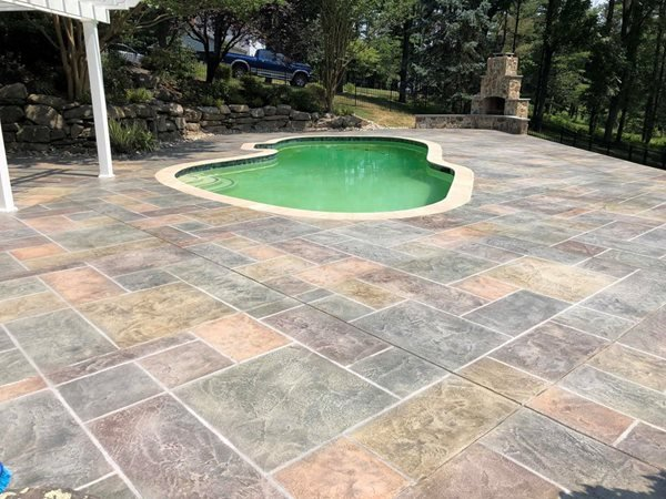Pool Deck Coating, Slate Concrete Pool Decks Sundek of Washington Chantilly, VA