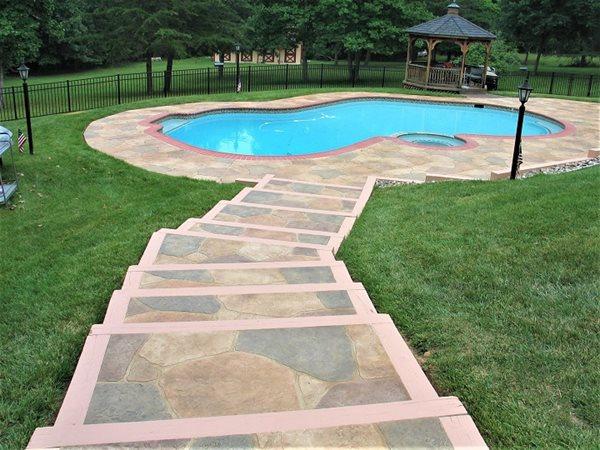 Pool Deck Coating, Stamped Pattern Concrete Pool Decks Sundek of Nashville Goodlettsville, TN