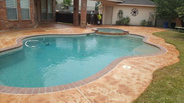 Pool Deck, Colored Concrete Concrete Pool Decks Angel's Concrete Design Services Houston, TX