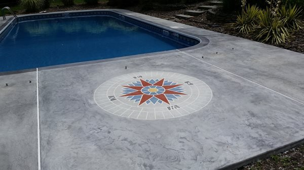 Pool Deck Compass Concrete Pool Decks C.L. Balmer Altered Surfaces Inc. Ephrata, PA