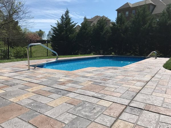 Pool Deck, Stamped Overlay Concrete Pool Decks Sundek of Nashville Goodlettsville, TN