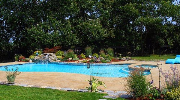 Pool Deck, Trees, Blue Water Concrete Pool Decks GMS Decorative Concrete Nashua, NH