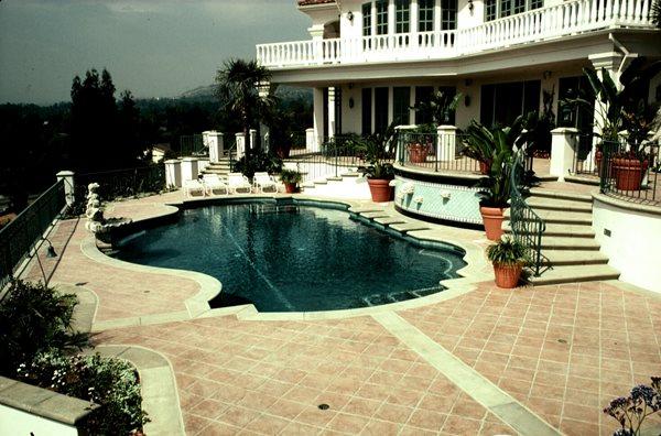 Red, Square Concrete Pool Decks Sullivan Concrete Textures Costa Mesa, CA
