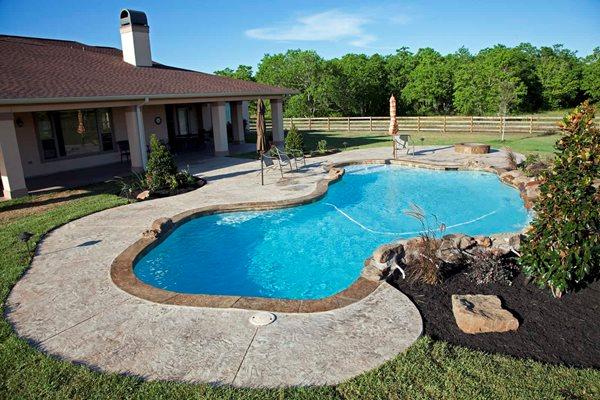 Residential Pool Deck, Stamped Overlay Concrete Pool Decks Sundek of Houston Katy, TX