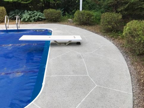 Resurfaced, Pattern, Pool Concrete Pool Decks James Concrete Polishing Epoxy Coatings Lake In The Hills, IL