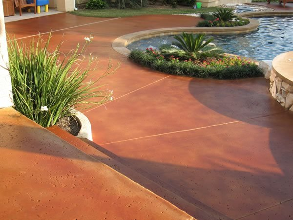 Rust, Stained Pool Concrete Pool Decks Moderncrete Austin, TX