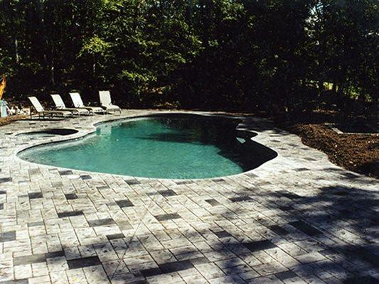 Shade, Stamped, Pool Deck Concrete Pool Decks Lasting Impressions LLC Chelmsford, MA