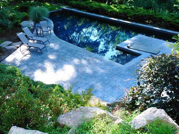 Shady, Swimming Pool, Stamped Concrete Concrete Pool Decks JMM Concrete Danbury, CT