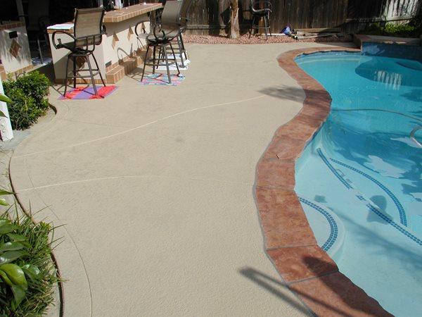 Smooth, Bone Concrete Pool Decks Surfacing Solutions Inc Temecula, CA