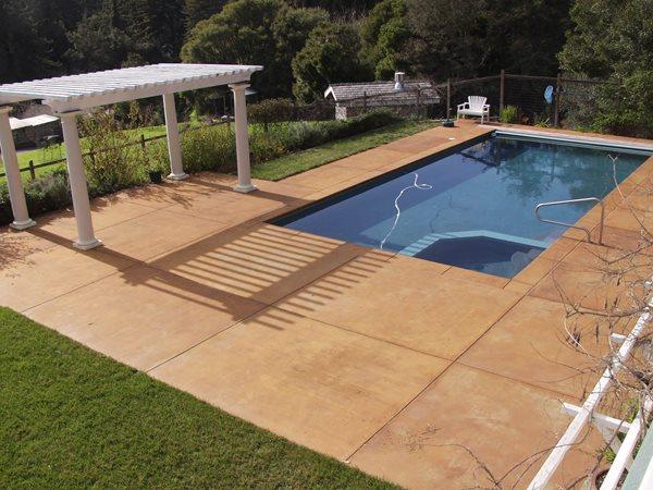 Smooth, Coffee Concrete Pool Decks Tom Ralston Concrete Santa Cruz, CA