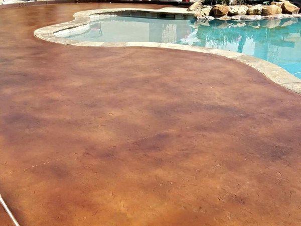 Stained Concrete, Colored Pool Deck Concrete Pool Decks Viking Decorative Concepts Austin, TX