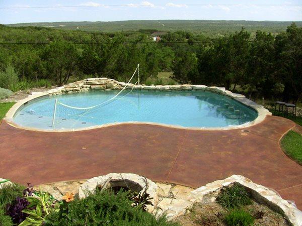 Stained, Pool Deck, Brown Concrete Pool Decks Diehl Concrete Sedalia, CO