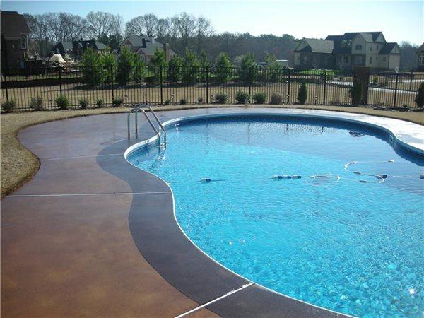 Stained Pool Deck Concrete Pool Decks Custom Design Concrete Resurfacing Locust Grove, GA