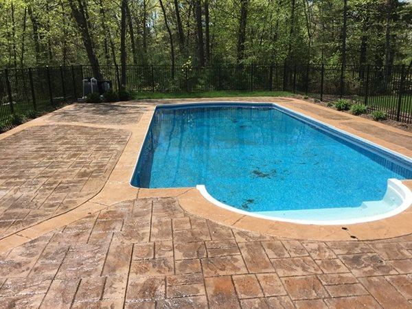 Stamped Concrete, Brown Concrete Pool Decks Northeast Concrete Construction Inc N Smithfield, RI