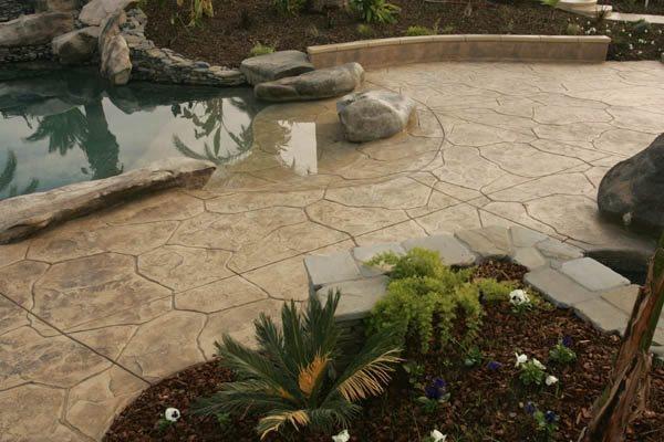 Stamped, Flagstone Concrete Pool Decks Heritage Bomanite Fresno, CA