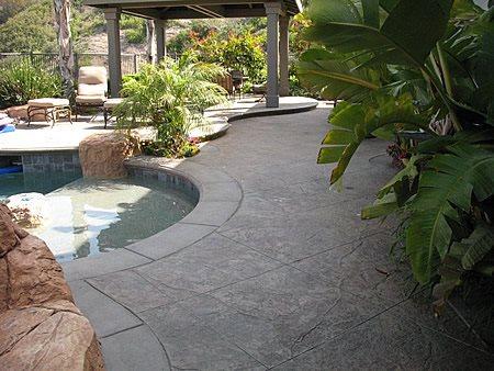 Stamped Grey Pool Deck Concrete Pool Decks Artcon Decorative Concrete Hamilton, MT