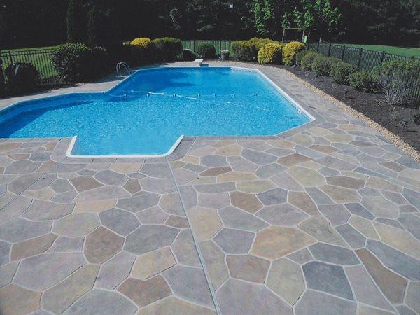 Stamped Pool Deck, Flagstone Pattern Concrete Pool Decks A1A Concrete Design Norfolk, VA